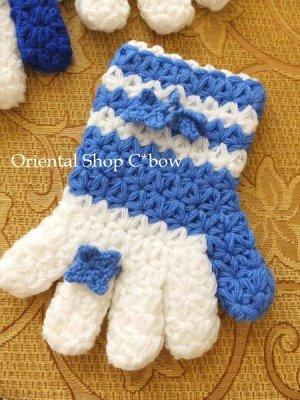 画像1: ボディタオル[エコたわし]・手袋・スカイブルー×ホワイト