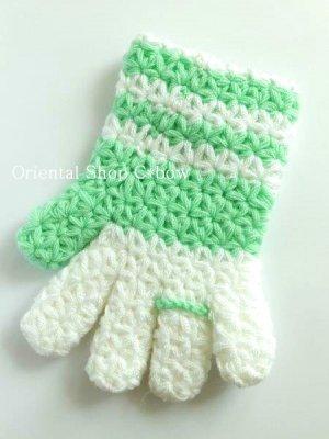 画像3: ボディタオル[エコたわし]・手袋・ミントグリーン×ホワイト