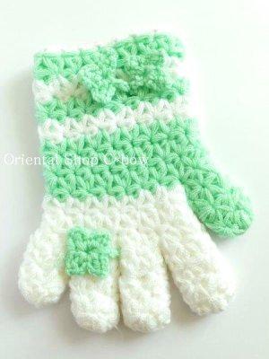 画像2: ボディタオル[エコたわし]・手袋・ミントグリーン×ホワイト