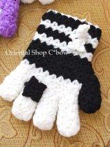 ボディタオル[エコたわし]・手袋・ブラック×ホワイト