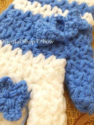 画像3: ボディタオル[エコたわし]・手袋・スカイブルー×ホワイト