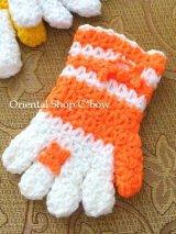 ボディタオル[エコたわし]・手袋・オレンジ×オフホワイト