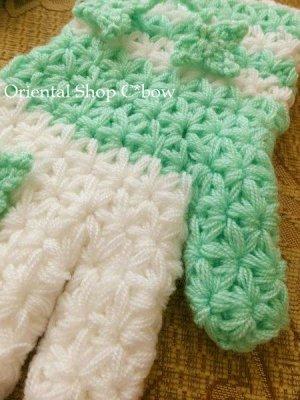 画像4: ボディタオル[エコたわし]・手袋・ミントグリーン×ホワイト