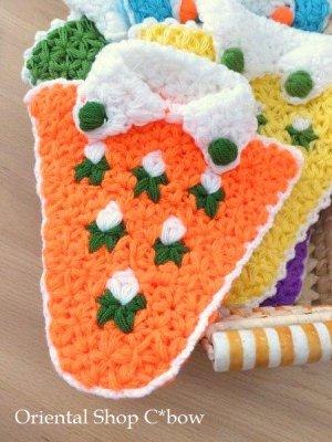 画像1: ボディタオル[エコたわし]・洋服・オレンジ×グリーン