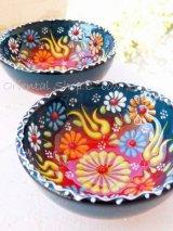 特価・キュタフヤ*陶器|ミニボウル|カラフル:ピーコックブルー赤系2つセット