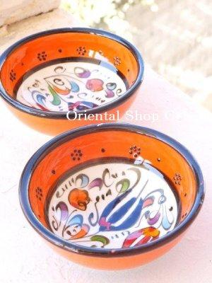 画像2: 特価・キュタフヤ*陶器|ミニボウル|オレンジ系2つセット:2