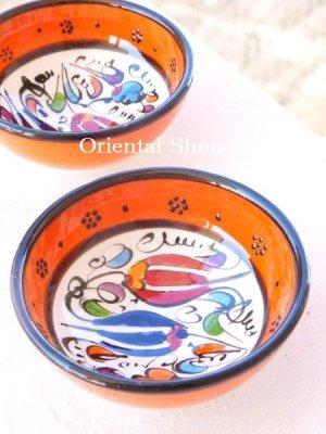 画像1: 特価・キュタフヤ*陶器|ミニボウル|オレンジ系2つセット:2