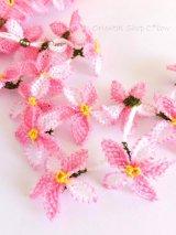 日本発送分★手作りアクセに☆イーネオヤ単体|5枚花*ピンク  2個セット
