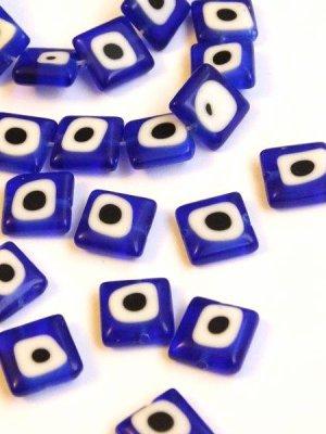 画像1: ナザルボンジュウパーツ・青:スクエア10ミリ 6個