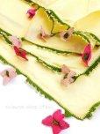 画像5: アイドゥン|アンティークオヤスカーフ|シルク糸|ピンク花