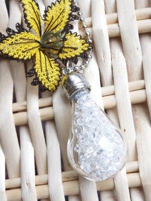 画像1: ガラスボトルネックレス☆ランプ|クリスタルビーズ