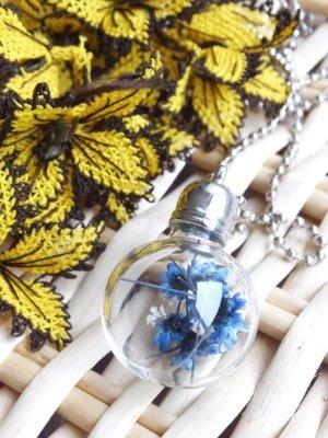 画像1: ガラスボトルネックレス☆ラウンド|青花|2