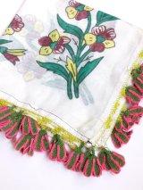 ベルガマ・コザック|アンティークオヤスカーフ|イーネオヤ|花|グリーンピンク