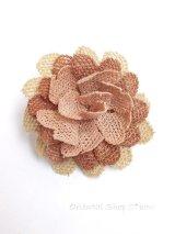 シルクイーネオヤブローチ|草木染シルク糸|ピーチ