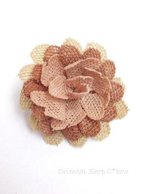 画像1: シルクイーネオヤブローチ|草木染シルク糸|ピーチ