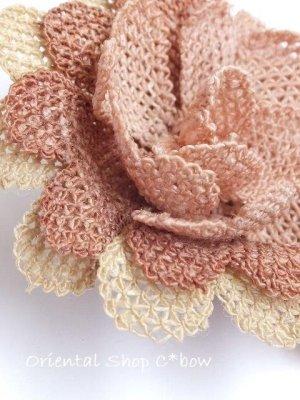 画像4: シルクイーネオヤブローチ|草木染シルク糸|ピーチ