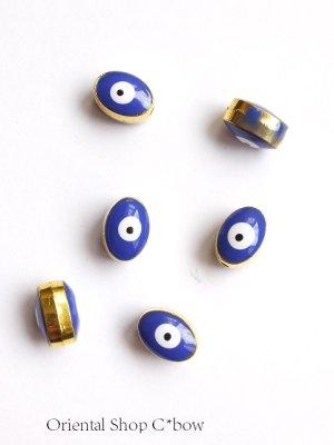 画像2: 穴あきナザル楕円☆金属パーツ|2個セット|ブルー