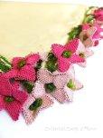 画像1: アイドゥン|アンティークオヤスカーフ|シルク糸|ピンク花 (1)