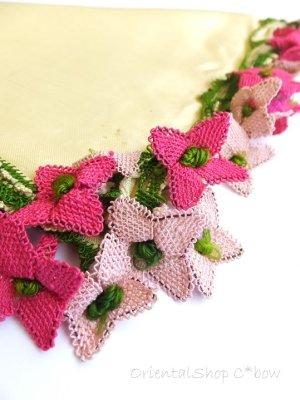 画像1: アイドゥン|アンティークオヤスカーフ|シルク糸|ピンク花