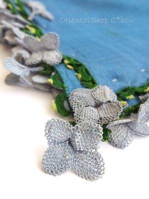 画像1: アイドゥン|アンティークオヤスカーフ|シルク糸|ブルー