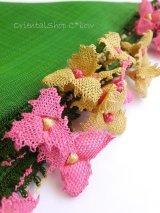 アイドゥン|アンティークオヤスカーフ|シルク糸|グリーン×クリームピンク