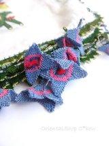 アイドゥン|アンティークオヤスカーフ|シルク糸|ブルーピンク