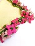 画像2: アイドゥン|アンティークオヤスカーフ|シルク糸|ピンク花