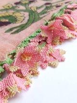 ベルガマ・コザック|木版アンティークオヤスカーフ|シルク糸イーネオヤ|ピンク4枚花
