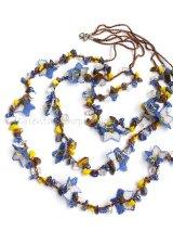 天然石とオヤの3連ネックレス|ブルーすみれ