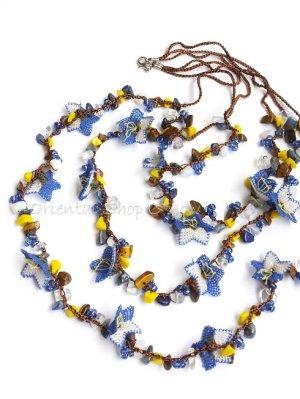 画像1: 天然石とオヤの3連ネックレス|ブルーすみれ
