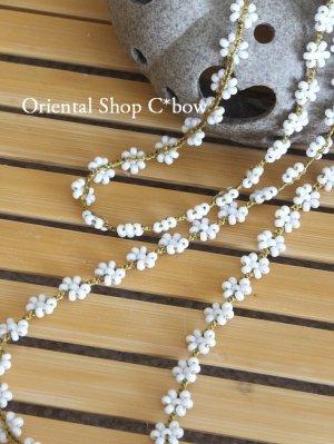 画像1: ちっちゃいお花☆ボンジュックオヤグラスコード|ホワイト×マスタード
