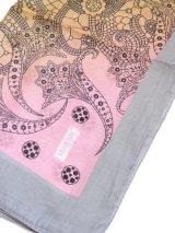 特価★大判スカーフ*オヤなし:MIHENK|ピンクブルーイエローグレー系|ポリエステル