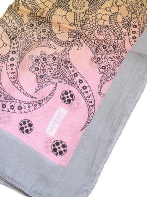 画像1: 特価★大判スカーフ*オヤなし:MIHENK|ピンクブルーイエローグレー系|ポリエステル