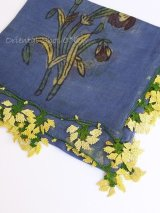 ブルサ:シルク木版アンティークオヤスカーフ・キャートヤズマ|ブルー