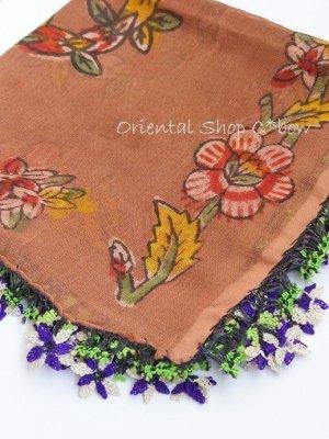 画像1: ナウルハン 木版アンティークイーネオヤスカーフ シルク糸 花 ココア