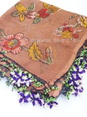 画像2: ナウルハン 木版アンティークイーネオヤスカーフ シルク糸 花 ココア