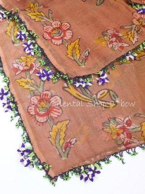 画像4: ナウルハン 木版アンティークイーネオヤスカーフ シルク糸 花 ココア
