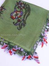 ブルサ:アンティークオヤスカーフ|シルク糸:モスグリーン