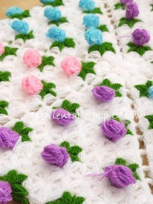 画像2: ボディタオル[リフ・エコたわし] ぷっくり薔薇 カラフル ピンク・パープル・アクア