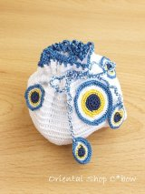 日本発送◆手編みナザルボンジュウのミニ巾着|白色×青