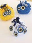 画像3: 手編みナザルボンジュウのミニ巾着|白色×濃青 (3)