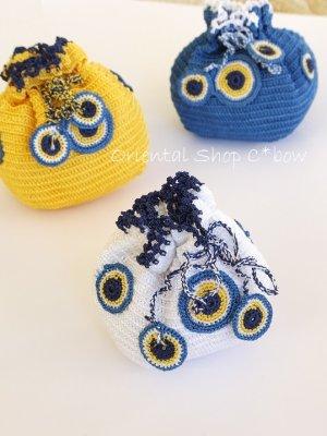 画像3: 手編みナザルボンジュウのミニ巾着|白色×濃青