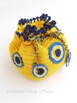 手編みナザルボンジュウのミニ巾着|黄色・2