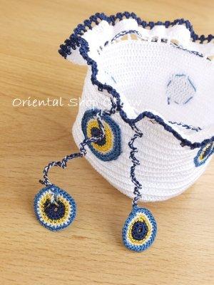 画像2: 手編みナザルボンジュウのミニ巾着|白色×濃青