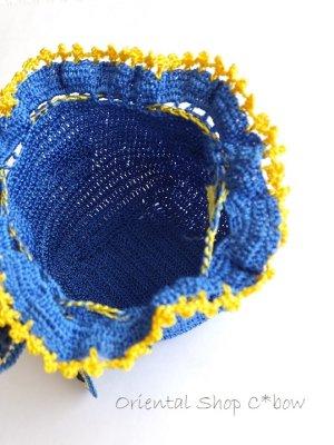 画像4: 手編みナザルボンジュウのミニ巾着|青色×黄
