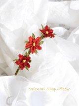 シルクイーネオヤブレスレット|3つ花|レッド系