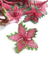 手作りアクセに☆シルク糸:イーネオヤ単体|大きな花|ストロベリー×グリーン