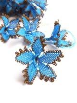 手作りアクセに☆シルク糸:イーネオヤ単体|大きな花|ブルー×ダークブラウン