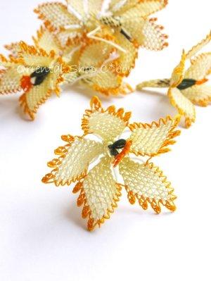 画像1: 手作りアクセに☆シルク糸:イーネオヤ単体|大きな花|クリーム