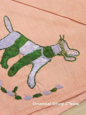 画像2: チェブレ|花嫁持参品・手刺繍ハンカチ|珍しい動物モチーフ|53